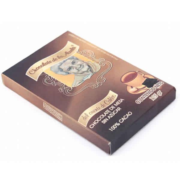 Chocolate sin azucar 100% cacao presentación 125g.