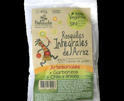 Paquete de rosquillas artesanales con arroz integral, garbanzos, semillas de chia y linaza. Apta para veganos y libre de gluten.